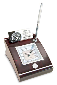 Clock Desk W/Card Holder And Pen